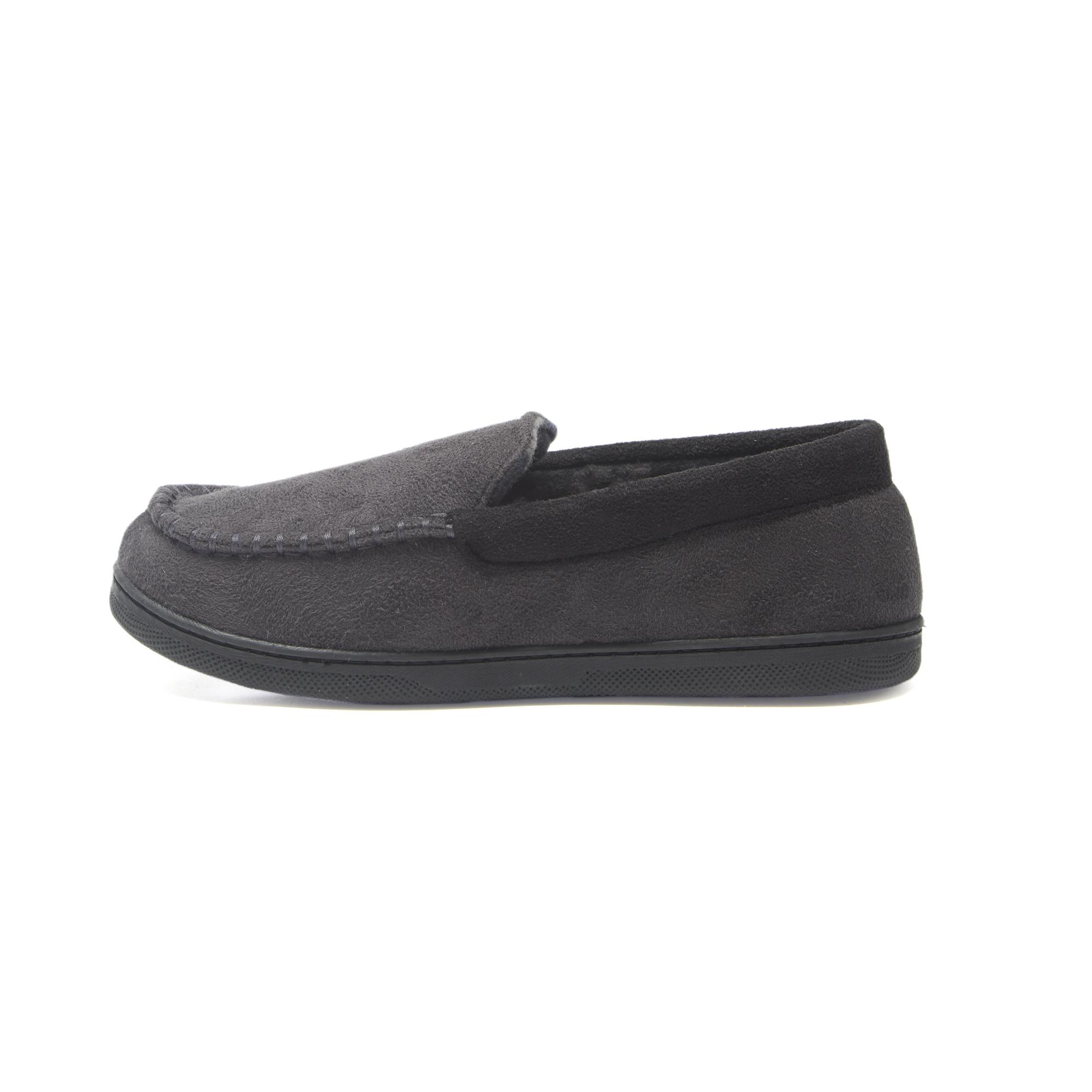 Hanes Boy/'s Slipper Moccasin House Shoe With  Indoor Outdoor Memory Foam Sole